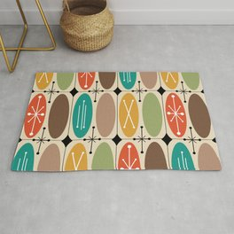 Atomic Era Ovals In Rows Colorful Rug
