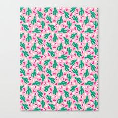 Not So Much - cactus memphis triangle throwback retro 80s bright neon pattern Canvas Print