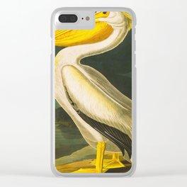 White Pelican John James Audubon Scientific Vintage Illustrations Of American Birds Clear iPhone Case