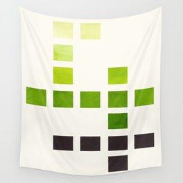 Colorful Minimalist Sap Green Mid Century Modern Minimalist Square Geometric Pattern Wall Tapestry