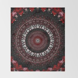 Decorative Red Mandala Design Throw Blanket