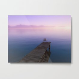 Infinite Sunset over Water and Mountains Metal Print