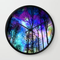 decal Wall Clocks featuring fantasy sky by haroulita