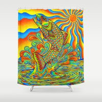 trout Shower Curtains featuring Psychedelic Rainbow Trout by Rebecca Wang