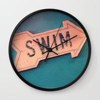 swim Wall Clocks featuring swim by Sylvia Cook Photography