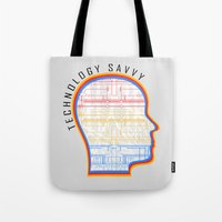 technology Tote Bags featuring Technology Savvy by Adil Siddiqui