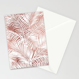 Modern elegant white faux rose gold palm tree Stationery Cards