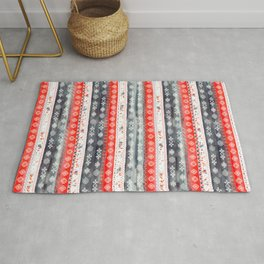 Baltic Bohemian Pattern - Red Grey Rug