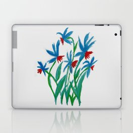 Hand painted watercolor floral blue and red flowers Laptop & iPad Skin