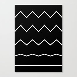 Waves Pattern, Geometric, Abstract, black and white, black version Canvas Print