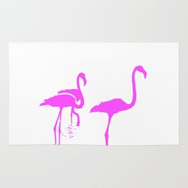 Three Flamingos Pink Silhouette Isolated Rug