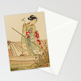 Women Gathering Lotus Blossoms Stationery Cards