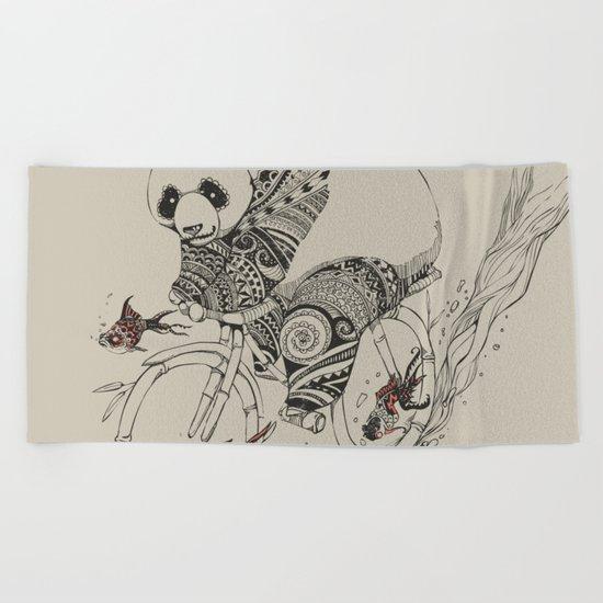 Panda and Follow Fish Beach Towel