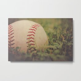 Used Baseball in Grassy Field wth Aged Effect Metal Print