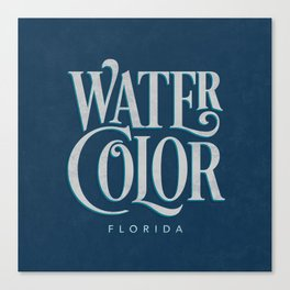Watercolor, FL Typography (Blue) Canvas Print