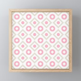 Pink pastel pattern of rhombuses and circles Framed Mini Art Print
