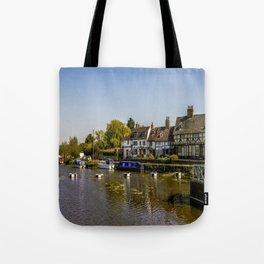 Tudor homes along River Avon. Tote Bag
