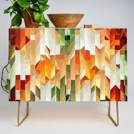 Geometric Tiled Orange Green Abstract Design Credenza