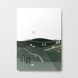 Driving through Cotswolds illustration | Cotswolds Artwork | English landscape illustration Metal Print