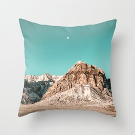 Vintage Red Rocks Moon // Mountain Range Snowcaps in Winter Desert Landscape Photograph Luna Sky Throw Pillow