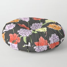 dark crowded floral Floor Pillow