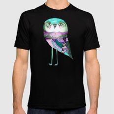 Owl Print Black Mens Fitted Tee SMALL