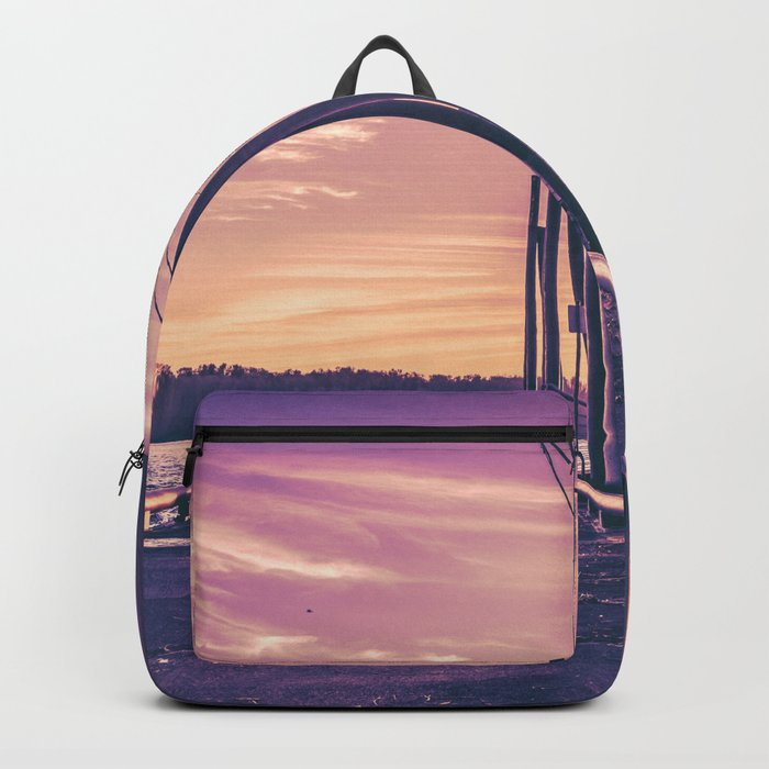 Water Sunset at the Dock Backpack