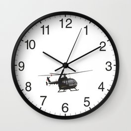 Black German Helicopter Wall Clock