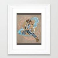 legend of korra Framed Art Prints featuring Korra by Vaahlkult