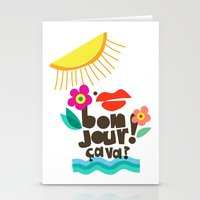 bonjour Stationery Cards featuring Bonjour! by Daily Thoughts