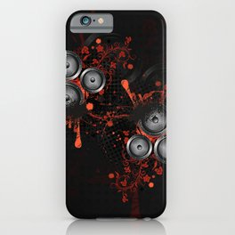 Loudspeaker with splatters and floral iPhone Case