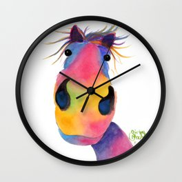 Happy Horse ' PeNeLOPE PiMMs ' by Shirley MacArthur Wall Clock