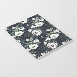 Blush pink white green black watercolor modern floral Notebook