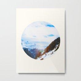 Mid Century Modern Round Circle Photo Steep Snowy Ski Mountains Metal Print