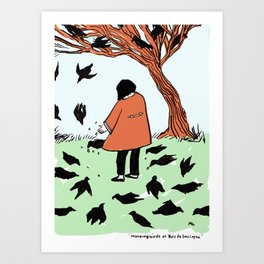 Mocking Birds at Bois de Boulogne {color} Art Print