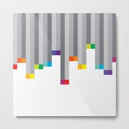 Pixel Rainbow on White Metal Print