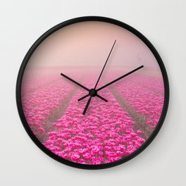 I - Sunrise and fog over rows of blooming tulips, The Netherlands Wall Clock