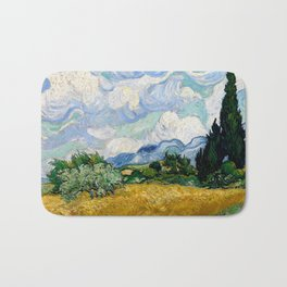 "Vincent van Gogh ""Wheat Field with Cypresses"" Bath Mat"