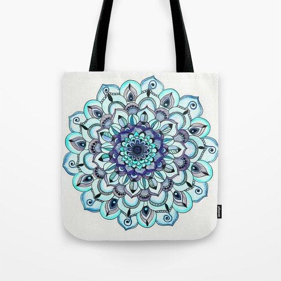 Tide Meets Shore - Blue Mandala Tote Bag