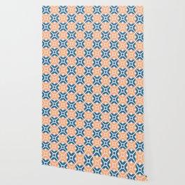 Italian tessellation cerulean and light orange Wallpaper