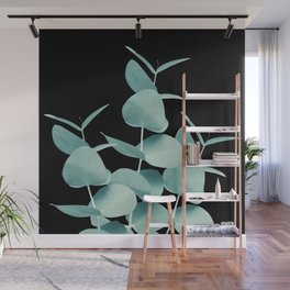 Eucalyptus Leaves Green Black #1 #foliage #decor #art #society6 Wall Mural