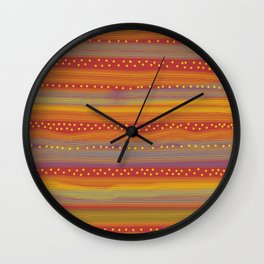 Red with Stripes and Dots Wall Clock