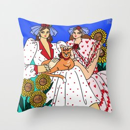 Leo in Rodarte - two woman in pink red polkadot dress and ginger orange cat, fashion illustration Throw Pillow