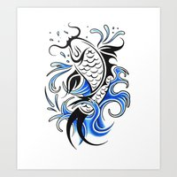 koi fish Art Prints featuring Koi Fish  by JonathanStephenHarris