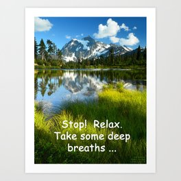 STOP AND BREATHE AT MOUNT SHUKSAN IN THE NORTH CASCADE RANGE Art Print