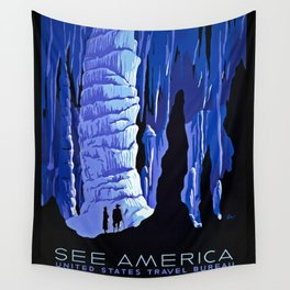 See America blue grotto vintage travel Wall Tapestry