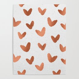 Rose Gold Pink Hearts on Paper Poster