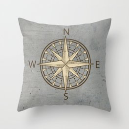 compass on cement background Throw Pillow