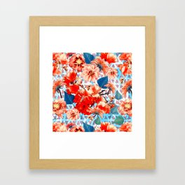 Geometric Flowers and Bees Framed Art Print