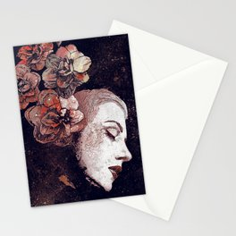 Obey Me: Blood (graffiti flower woman profile) Stationery Cards